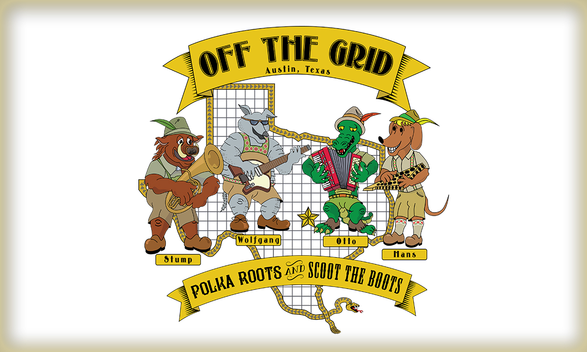 Image of Off the Grid polka band logo.