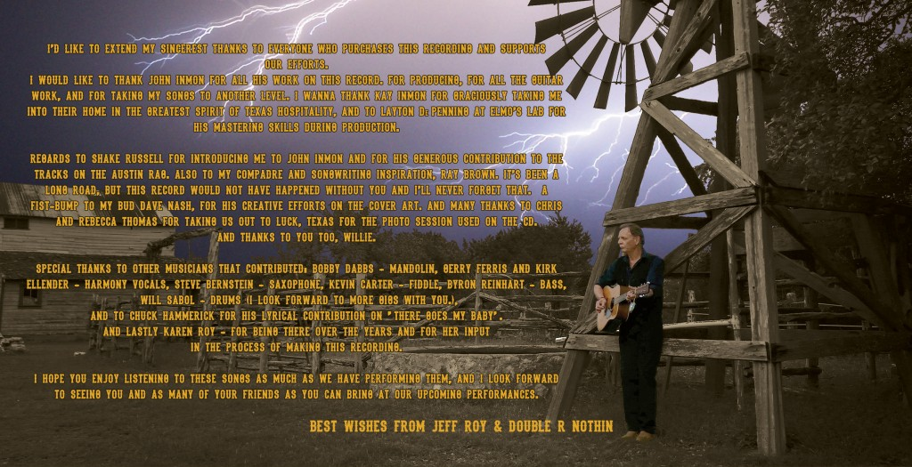 "Inside cover of ""My Retirement Plan"" CD recording by Jeff Roy's Double r Nothin'"